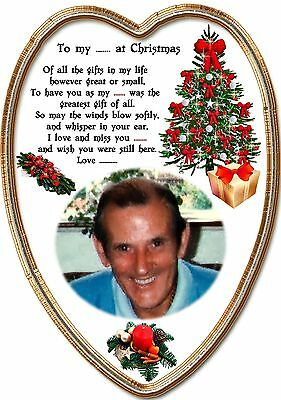 Personalised In loving memory heart shaped Grave christmas card any relative