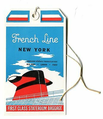 Maritime Plaques & Signs Vintage Tfrench Line Luggage Tag Antiques