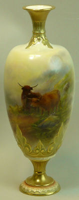 Antique Royal Worcester Harry Stinton Highland Cattle Scene Porcelain Vase 1905
