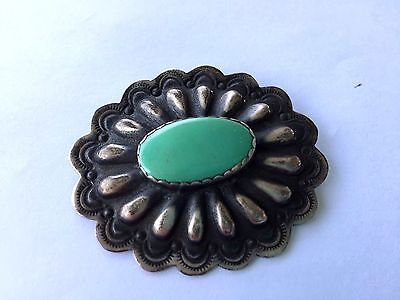 Native American Sterling Green Turquoise Brooch Pin Signed Jeff Largo