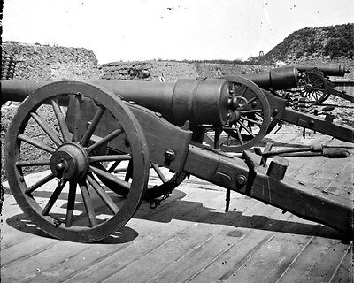 New 11x14 Civil War Photo: Battery of 100 Pound Parrott Guns on Morris Island