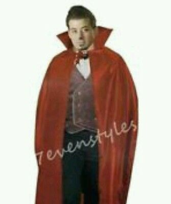 "56"" Red RACULA VAMPIRE CAPE HALLOWEEN FANCY DRESS COSTUME ADULT FANGS"