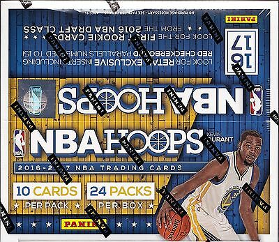 2016/17 Hoops retail Basketball unopened box 24 packs of 10 NBA cards 1 auto