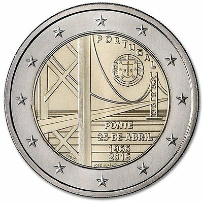 """2016 Portugal 2 Euro Uncirculated Coin """"25th of April Bridge 50 Years"""""""
