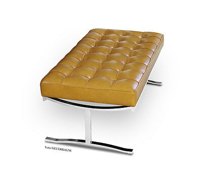 High quality Bauhaus Leather Seating bench genuine cowhide leather Light brown