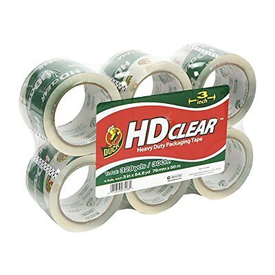 Duck Brand HD Clear High Performance Packaging Tape, 3-Inch x 54.6-Yard, Crystal