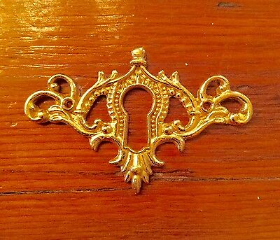 Dainty Polished  cast Brass ornate horizontal  Keyhole Cover  ESCUTCHEON #1212PB