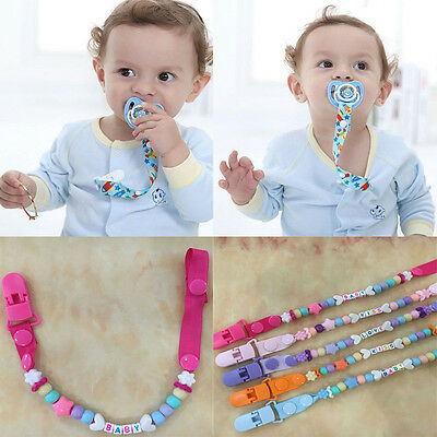 Baby Kid Dummy Pacifier Soother Nipple Leash Strap Chain Clip Holder TR Random