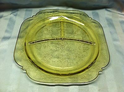 """Yellow Federal Depression Glass Madrid 10 3/8"""" Divided Dinner Plate  Imperfect"""