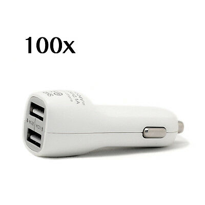 100x Universal 2.1A Dual USB Car Charger Adapter 2-Port for Smartphone Wholesale