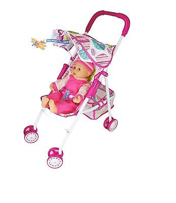 Doll and buggy stroller pram pushchair with 14'' baby doll
