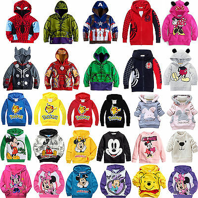 Kids Boys Girls Casual Long Sleeve Hoodie Jumper Tops Coat Sweatshirt Pullover