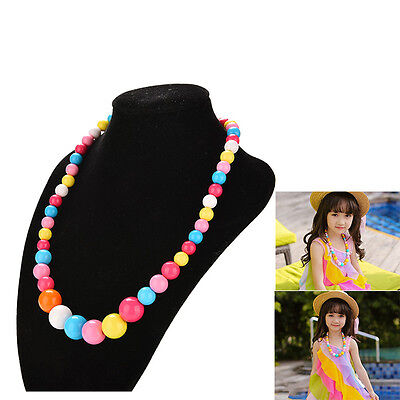 Big Colorful Bead Necklace for Girl Kid Jewelry Party  Sweater Accessories BDAU