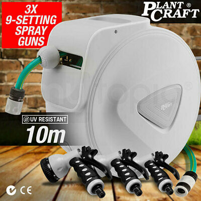 New PLANTCRAFT 10m Retractable Garden Hose Reel Rewind Gun Water Wall Mount