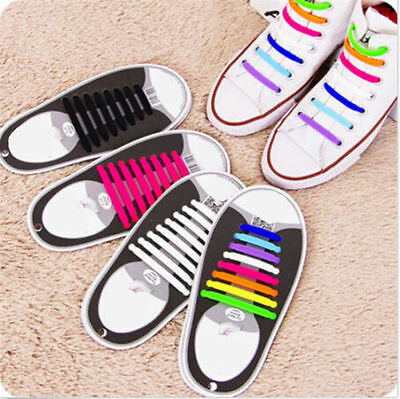 16Pcs Colors Elastic Silicone Easy No Tie Shoelaces Shoe Lace For Kids Adults