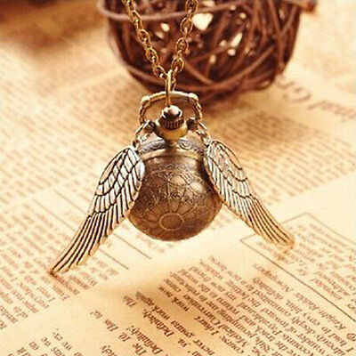 Harry Potter Golden Wing Snitch Quartz Pocket Watch With Necklace Chain
