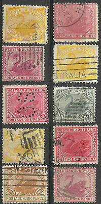WESTERN AUSTRALIA Collection 10 Different COLONIES STATES Stamps Used (Lot 11)