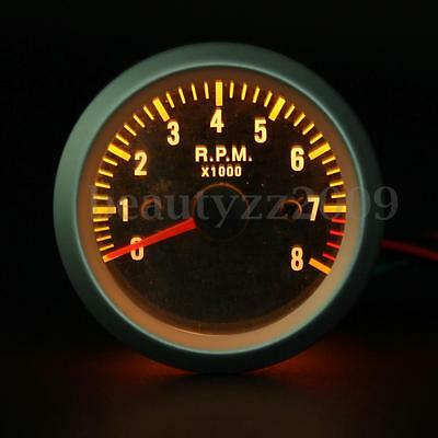 2'' 52mm Rev Tacho Gauge Tachometer 0-8000 RPM Carbon Fiber Face Yellow LED