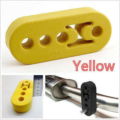 1 Pcs Yellow Replacement Autos Exhaust Pipe Mount Rubber Bracket Hanger 4 Holes
