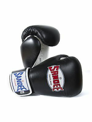 Sandee Authentic Muay Thai Black & White Leather Boxing Gloves Sparring