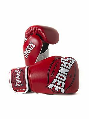 Sandee Cool-Tec Muay Thai Red, White & Black Leather Boxing Gloves Sparring