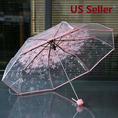 Transparent Clear Umbrella Cherry Blossom  Sakura 3 Fold Romantic Prop