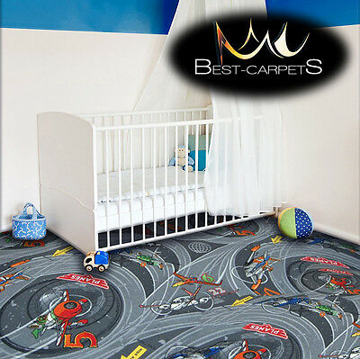 CHILDREN'S CARPET PLANES grey Disney Kids Bedroom Rug, ANY SIZE Play Room Pixar