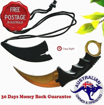 NEW Outdoor KARAMBIT NECK KNIFE Survival Hunting Fixed Blade+Sheath Gold