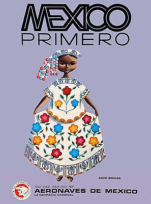 Mexico Primero by Airplane Vintage Mexican Travel Advertisement Art Poster