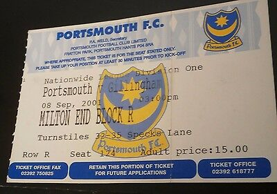 Portsmouth v Gillingham 8th Sept 2001 League Match Ticket