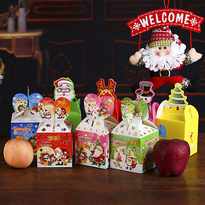 6pcs Christmas Gift Boxes Christmas Eve Apple Box Santa Snowman Xmas Party Box