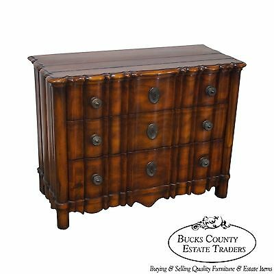 Solid Mahogany Serpentine 3 Drawer Continental Style Chest