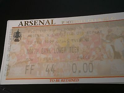 Arsenal v Sheffield United 23rd Feb 1999 Fa Cup 5th Round Replay Match Ticket