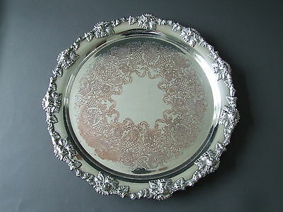 Antique ornate silver plated on copper chased salver tray