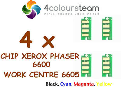 4x TONER RESET CHIPS  FOR XEROX PHASER 6600 Xerox WorkCentre 6605 (1set)