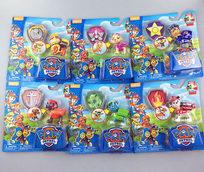 Set of 6 Pcs Paw Patrol Action Pack Pup Dog backpack projectile toys Figure Gift