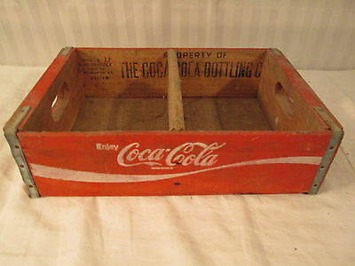 Vintage Coca Cola  Wood Crate Carrier Box Natural Charleston Sc  1977