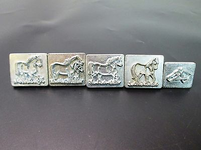 5 Vintage Craftool Co. Leather Crafting Horse Stamps 8230 8231 8232 8233 8234