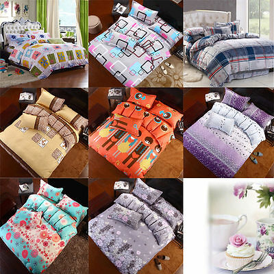 Floral Duvet Cover with Pillow Case Quilt Cover Bed Set Double & King Size Kids