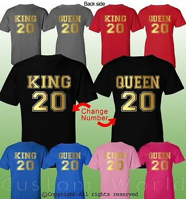 cb0e29cb0d King and Queen Couple Shirt Matching Couple Clothes T-Shirts Customize  NUMBER