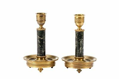 Pair of Empire Marble and Gilt Bronze Candlesticks 19th c ( 1800s )