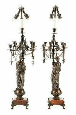 Charming Pair, Antique French Neoclassical Bronze Candelabrum Lamps