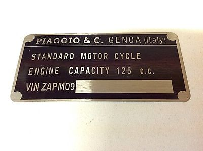 Vespa PX 125 Disc Later Type Zapm09 data plate quality vin-tage new