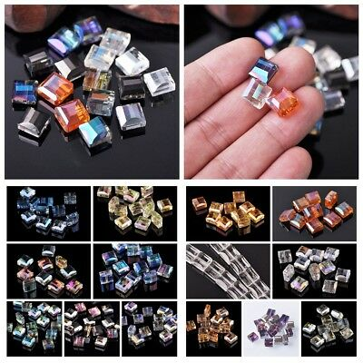 Wholesale 9x5mm Flat Cube Faceted Crystal Glass Loose Spacer Beads DIY Finding