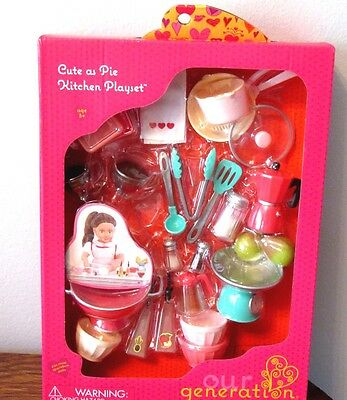 """American Our Generation CUTE AS PIE Kitchen Playset Food Baking 18"""" Girl Doll"""