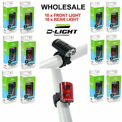 Wholesale Lot USB Rechargeable Bike Bicycle D-Light Front Rear Light 10 pack
