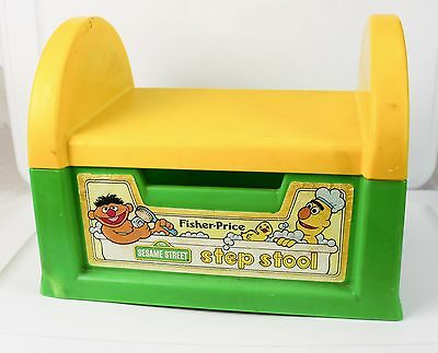 Vintage Fisher Price Sesame Street Plastic Child's Step Stool Green & Yellow