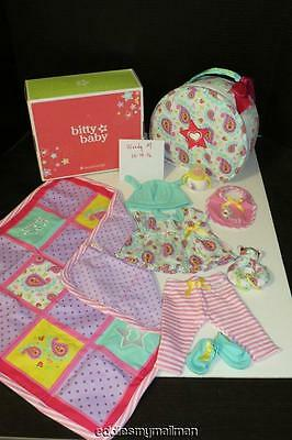 American Girl Bitty Baby Doll Starter Collection Set Quilt/Outfit/Tote Bag NEW