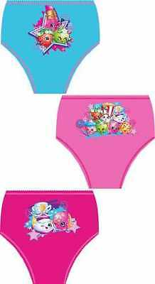 Shopkins Girls Briefs Pants Knickers 3 Pack 3-4 5-6 6-7 - New 2016