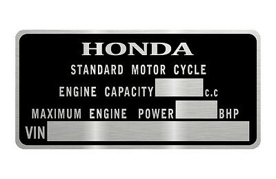 HONDA MOTORCYCLE  M.O.T.  TAG  data plate quality vin-tage new